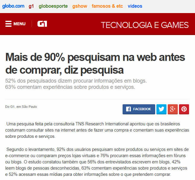 Marketing de Conteúdo - Mais de 90% das pessoas pesquisas na internet antes de comprar